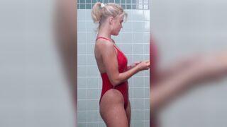 Erika Eleniak showering in Baywatch