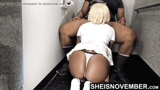 Rear Perspective BJ Young Golden-haired Afro American Lady Ass