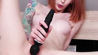 Skinny Redhead Masturbates With Hitachi